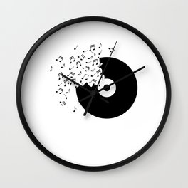 Vinyl Record T Shirt Music Notes Timeless Disco Dj Club Wall Clock