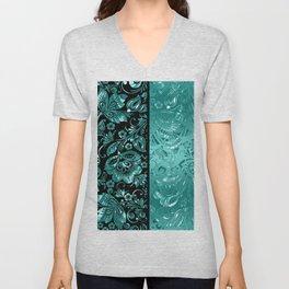 Turquoise & Black Damasks Pattern Unisex V-Neck