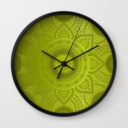 """Green Lemon Pattern Mandala Polka Dots"" Wall Clock"