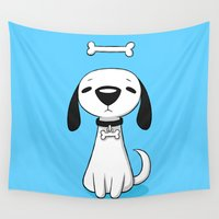 puppy Wall Tapestries featuring Puppy Bone by Freeminds