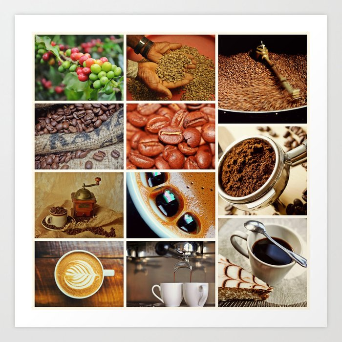 Coffee Espresso Collage - Cafe or Kitchen Decor Art Print