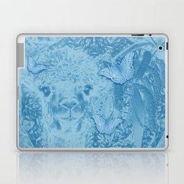 Ghostly alpaca with butterflies in snorkel blue Laptop & iPad Skin