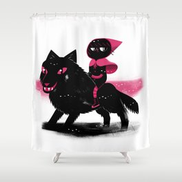 Red Wolf Riding Hood Shower Curtain
