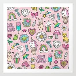 Patches Stickers 90's Doodle Unicorn Ice Cream, Rainbow, Hearts, Stars, Gemstones,Flowers Pink Art Print