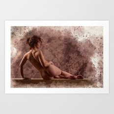 Nude woman watercolor vintage Art Print