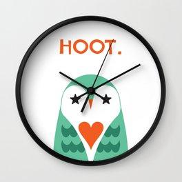 Hoot. Says The Love Owl. Wall Clock