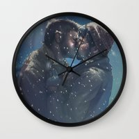 destiel Wall Clocks featuring Winter Destiel by A Midget Banana