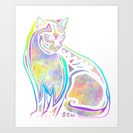 Colorful cat (watercolor) Art Print
