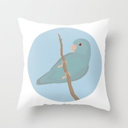 Blue Fallow Pacific Parrotlet Throw Pillow