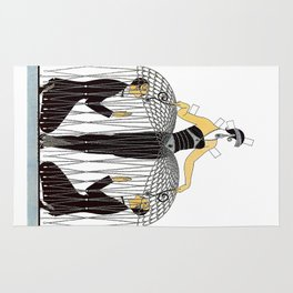 "Art Deco Design ""Improvised Cage"" by Erté Rug"