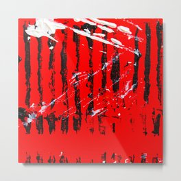 Tribal Tiger - Abstract Acrylic Paint on Canvas Metal Print