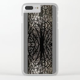 Gothic tree striped pattern grey Clear iPhone Case