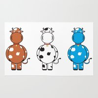 cows Area & Throw Rugs featuring COWS by thestalewhale