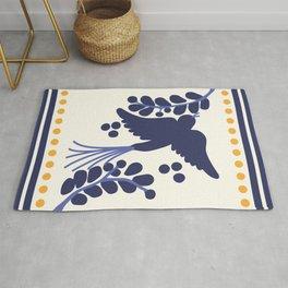Talavera Blue Bird, Mexican Style Tile // Mexico Festive Traditional Motif Rug
