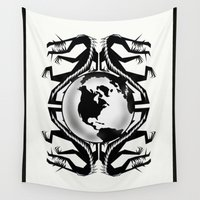 globe Wall Tapestries featuring Dragons Globe   by David Michael Schmidt