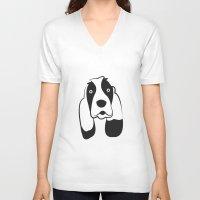 the hound V-neck T-shirts featuring Basset Hound by anabelledubois