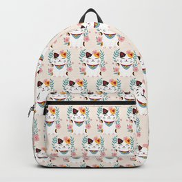 Japanese Lucky Cat with Cherry Blossoms Backpack