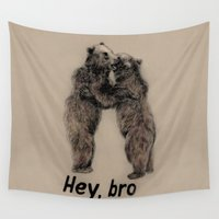 gangster Wall Tapestries featuring Hey, bro // bears by Anna Shell