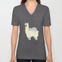 Cute & Funny Sloth Riding Llama Best Friends Unisex V-Neck