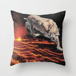 lavacat ~ animal paper collage surreal weird mountain lion volcano funny Throw Pillow