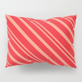 Modern Red & Gold Stripey Pattern Pillow Sham