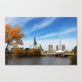Downtown Winnipeg 2 Picture Panorama Canvas Print