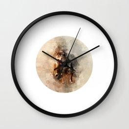Dog running watercolor Wall Clock