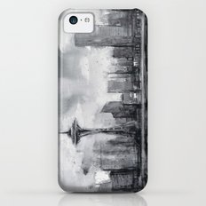 Seattle Skyline Painting Watercolor Black and White Space Needle iPhone 5c Slim Case