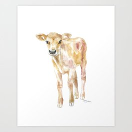 Jersey Calf Watercolor Cow Art Print
