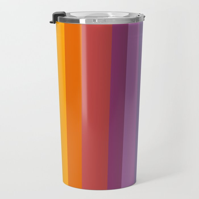 Modern Bright Rainbow Abstract Stripes Travel Mug