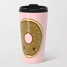 Yummy brown kawaii doughnut Travel Mug