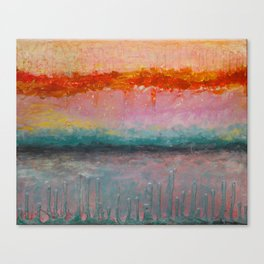 Fire Sunset vibrant mixed media abstract seascape Canvas Print