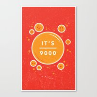 dragonball Canvas Prints featuring IT'S OVER 9000 (Dragonball) by Jacob Waites