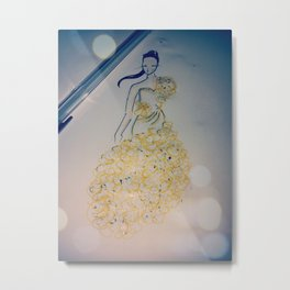 yellow lady Metal Print