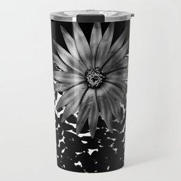 Animal Print Cheetah Black and White Pattern and Silver Medallion Travel Mug