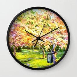 Tardis In The Season Blossom Wall Clock