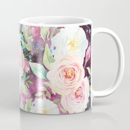 Blush pink watercolor elegant roses floral nebula Coffee Mug