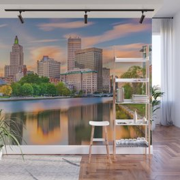 Downtown Providence, Rhode Island Along the Providence River Wall Mural