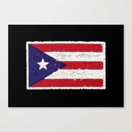 Puerto Rican flag with distressed textures Canvas Print