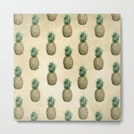 Vintage Pineapple Pattern Linen Metal Print