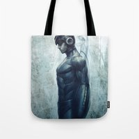 mega man Tote Bags featuring Mega Real Man by Artgerm™