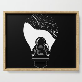 Space Odyssey   Lightbulb   Astronaut   Black and White   Cosmos   Stars   Galaxy   pulp of wood Serving Tray