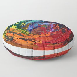 Memory, Circle vibrant abstract, NYC artist Floor Pillow