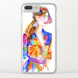 fashion #22. girl in multicolor dress and baseball cap Clear iPhone Case