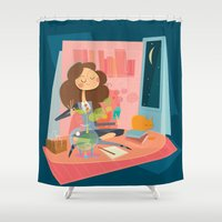 hermione Shower Curtains featuring Hermione by breakfastjones