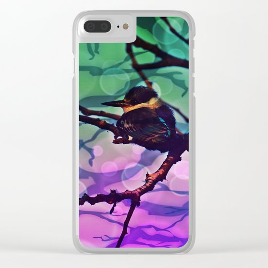 African Bird and Branches Teal And Pink Clear iPhone Case