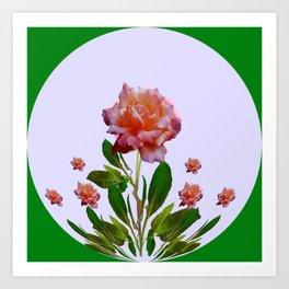 GREEN COLOR   CORAL  PINK ROSES BOTANICAL ART Art Print
