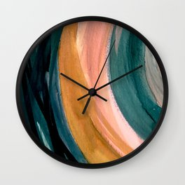 Breathe: a vibrant bold abstract piece in greens, ochre, and pink Wall Clock