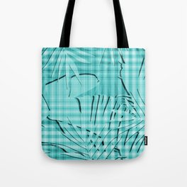Turquoise Tropical Leaves Plaid Design Tote Bag