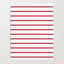 Red and White Breton Stripes Poster